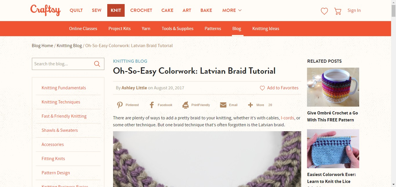 Craftsy blog post as homepage