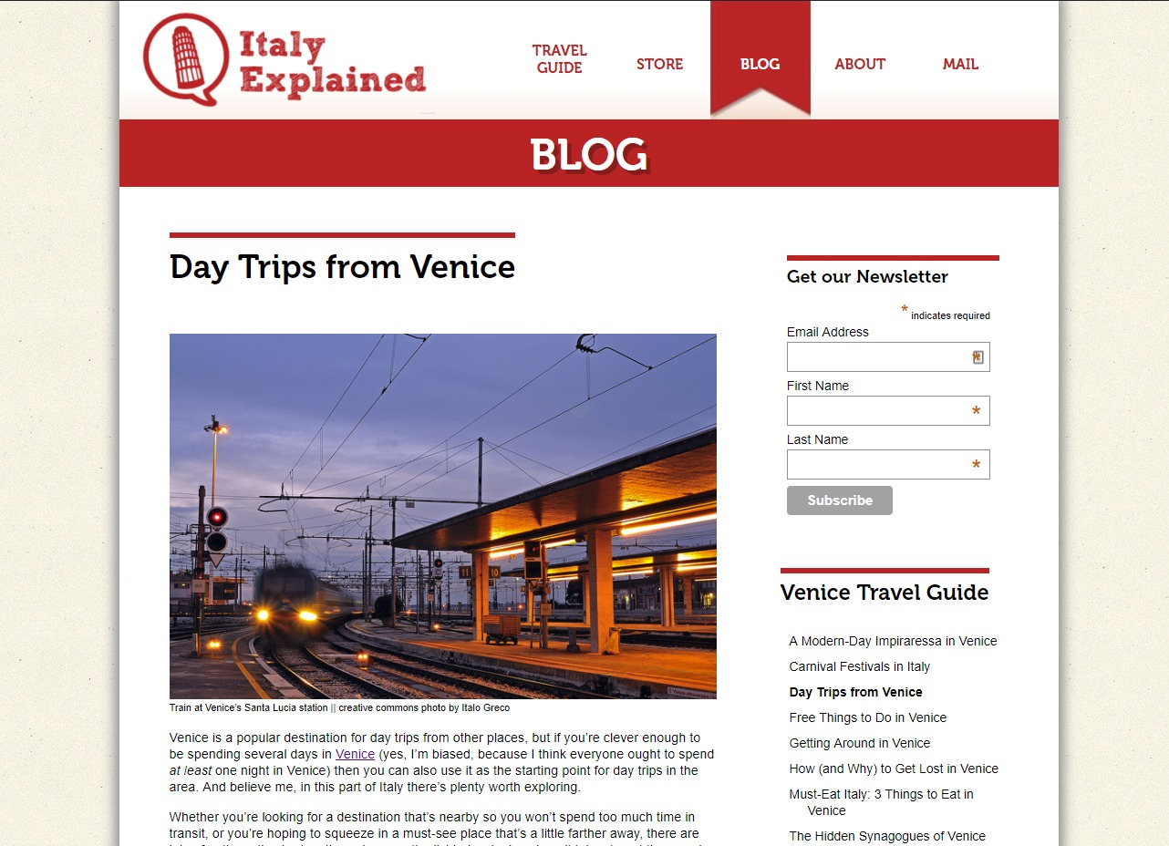 Italy Explained blog post as homepage